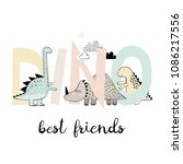 dinosaurs play with letters.... | Shutterstock .eps vector #1086217556