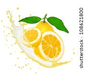 lemon with splash isolated on... | Shutterstock . vector #108621800