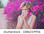 woman with allergy symptom... | Shutterstock . vector #1086219956