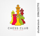 chess pieces in funny cartoon... | Shutterstock .eps vector #1086220793