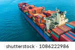 container ship  aerial view... | Shutterstock . vector #1086222986
