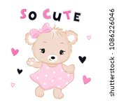 cute bear in dress with text... | Shutterstock .eps vector #1086226046