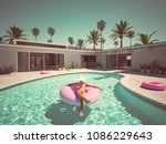 3d Rendering. Woman Swimming On ...