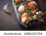 fresh raw chicken and quail... | Shutterstock . vector #1086231704