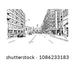 building view with street of... | Shutterstock .eps vector #1086233183