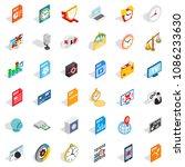 multimedia icons set. isometric ... | Shutterstock . vector #1086233630