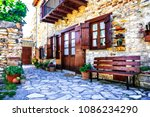 beautiful floral streets and... | Shutterstock . vector #1086234290