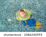 new born infant baby boy in... | Shutterstock . vector #1086240593