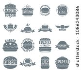 burger logo icons set. simple... | Shutterstock . vector #1086243086