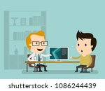 doctor checks the x ray and... | Shutterstock .eps vector #1086244439