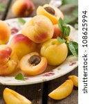 fresh  apricots on plate ... | Shutterstock . vector #108625994