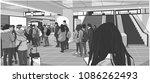 illustration of busy subway ... | Shutterstock .eps vector #1086262493
