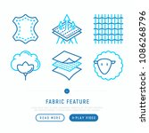 fabric feature thin line icons... | Shutterstock .eps vector #1086268796