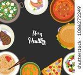set of restaurant food icons... | Shutterstock .eps vector #1086272249