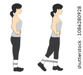 exercise girl with resistance... | Shutterstock .eps vector #1086280928