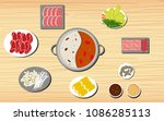 hotpot and ingredients on the... | Shutterstock .eps vector #1086285113