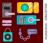 different house door lock icons ... | Shutterstock .eps vector #1086287930