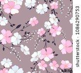 pink flowers  grey seamless... | Shutterstock .eps vector #1086290753