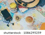 collect a suitcase on a trip.... | Shutterstock . vector #1086295259