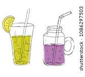 vector set of lemonade or... | Shutterstock .eps vector #1086297503