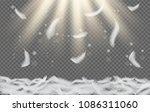 falling white feathers. vector... | Shutterstock .eps vector #1086311060