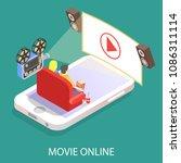 movie online vector flat 3d... | Shutterstock .eps vector #1086311114