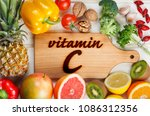 vitamin c in fruits and... | Shutterstock . vector #1086312356