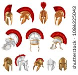 set of realistic spartan... | Shutterstock .eps vector #1086325043