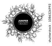 juniper vector drawing frame.... | Shutterstock .eps vector #1086326993