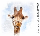 comical giraffe portrait | Shutterstock . vector #1086327008