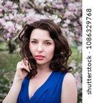 beautiful brunette girl ...   Shutterstock . vector #1086329768