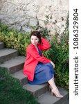 sexy beauty girl   dressed in...   Shutterstock . vector #1086329804