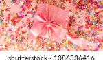 web banner gift box and flying... | Shutterstock . vector #1086336416