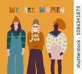 oung women friends illustration.... | Shutterstock .eps vector #1086341873