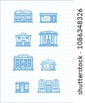 set of vector buildings and... | Shutterstock .eps vector #1086348326