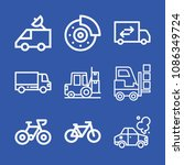 vehicle related set of 9 icons... | Shutterstock .eps vector #1086349724