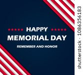 memorial day   remember and... | Shutterstock .eps vector #1086356183