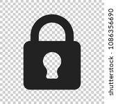 lock sign vector icon. padlock... | Shutterstock .eps vector #1086356690