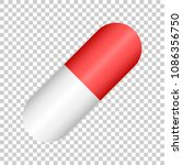 pill vector icon in flat style. ... | Shutterstock .eps vector #1086356750