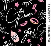 girl power text and pink... | Shutterstock .eps vector #1086369656
