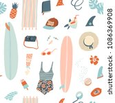 summer beach objects seamless... | Shutterstock .eps vector #1086369908