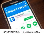 Small photo of Ryazan, Russia - May 04, 2018: Drudge Report mobile app on the display of cell phone.