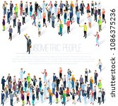 people crowd. isometric vector... | Shutterstock .eps vector #1086375236