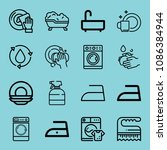 outline washing icon set such... | Shutterstock .eps vector #1086384944