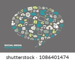 speech bubble with social media ... | Shutterstock .eps vector #1086401474