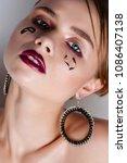 beauty model woman with long... | Shutterstock . vector #1086407138