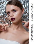 beauty model woman with long... | Shutterstock . vector #1086407150