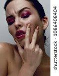 beauty model woman with long... | Shutterstock . vector #1086408404