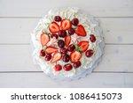 Pavlova Meringue Dessert On...