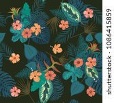 seamless exotic trendy pattern... | Shutterstock .eps vector #1086415859